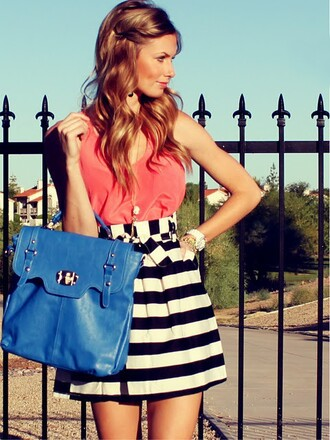 skirt coral top tank top coral top orange red pink stripes striped skirt high waisted skirt tumblr tumblr fashion tumbrl outfits summer spring outfit cute hot love black and white black white skirt dark bue blue purse blue bag blue handbag black and white skirt pink blouse bag blue leather bag black skater blouse