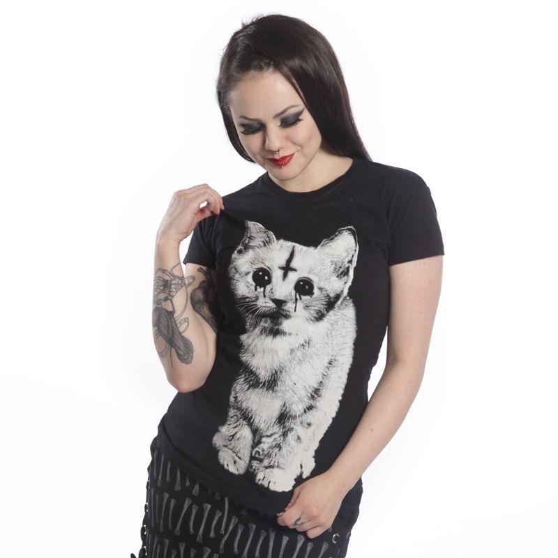 "POIZEN INDUSTRIES ""DARK KITTEN"" SKINNY T SHIRT | eBay"