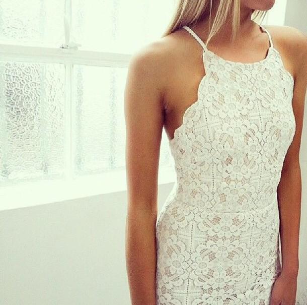 dress white dress lace dress halter neck halter dress