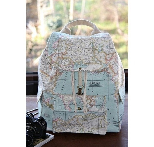 bag map print rucksack globe