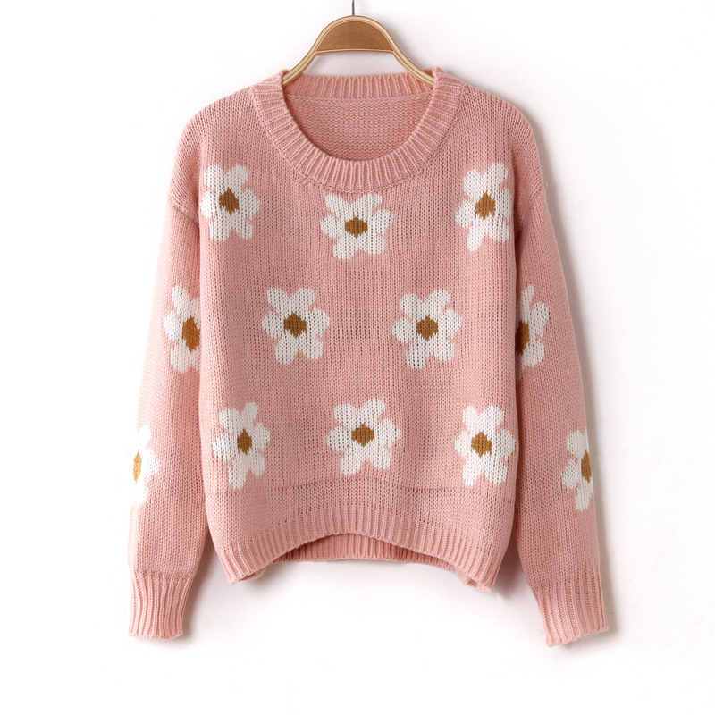 SW21 2013 Cute Women Retro Chunky Daisy Sunflower Knitted Crop Sweater Pullover Top Floral Winter Loose Fit Jumper Free Shipping-in Pullovers from Apparel & Accessories on Aliexpress.com