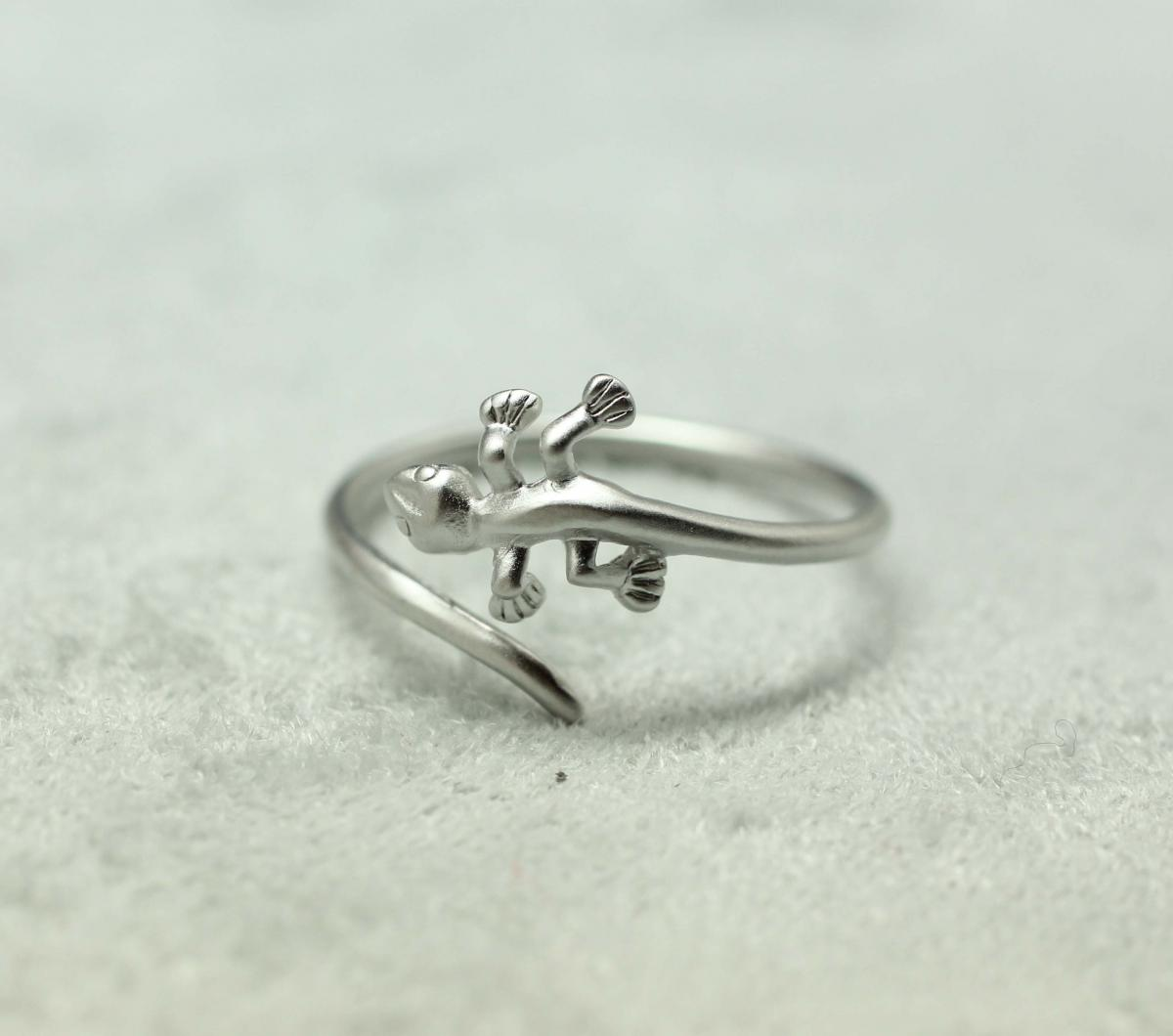 Cute And Unique Lizard Rings In Silver- Adjustable Ring on Luulla