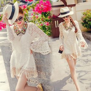 Casual Women Hippie Boho Hollow Sexy Flare Sleeve Gypsy Fringe Lace Shirt Tops Q | eBay
