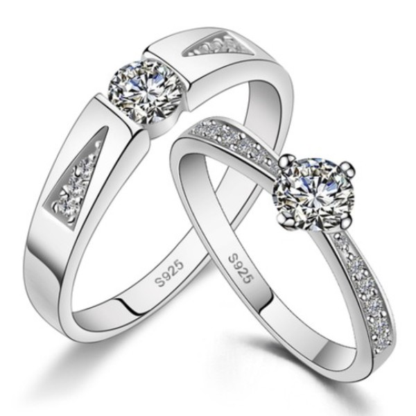 cubic zirconia wedding bands set with customized engraving - Customized Wedding Rings