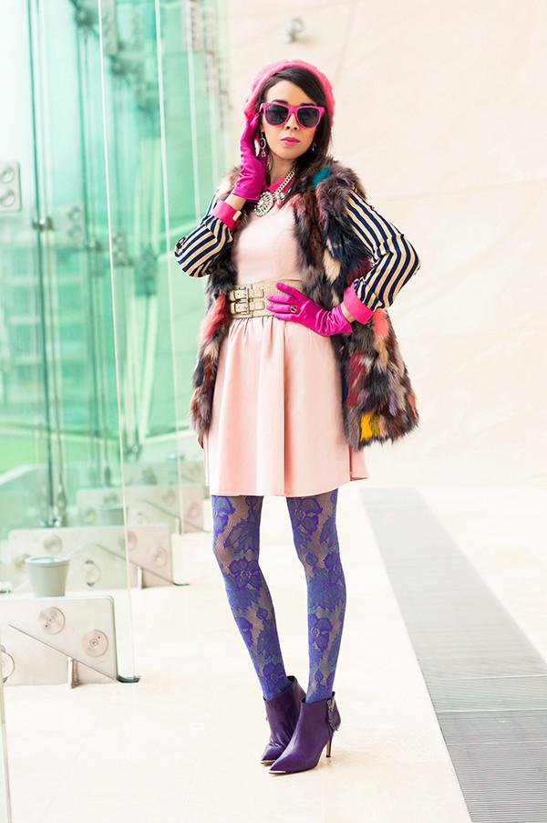 macademian girl dress jacket shirt bag shoes belt jewels sunglasses printed fur vest