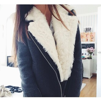 coat grey coat black coat fourrure col fourrure fur coat no hood manteaux