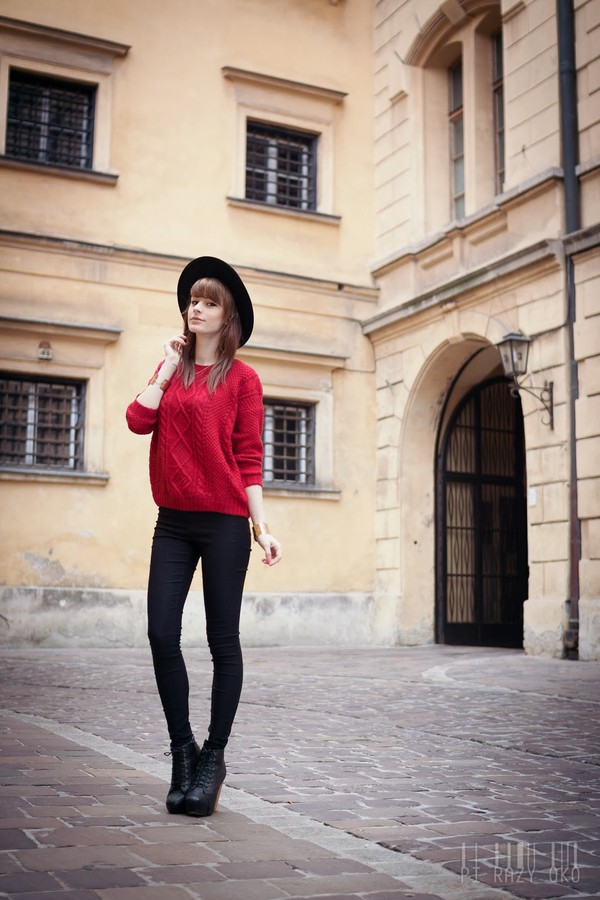 sweater romwe red jumper