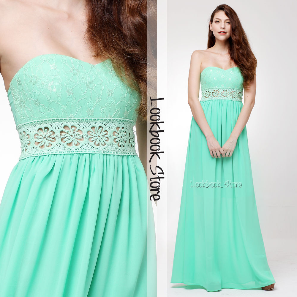 Women Mint Cut-out Floral Crochet Lace Sweetheart Pleated Bodice Cup Maxi Dress   eBay