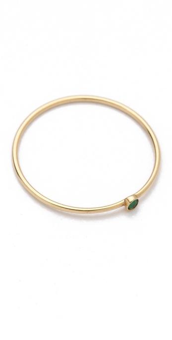 Jennifer Meyer Jewelry 18k Gold Thin Emerald Ring | SHOPBOP
