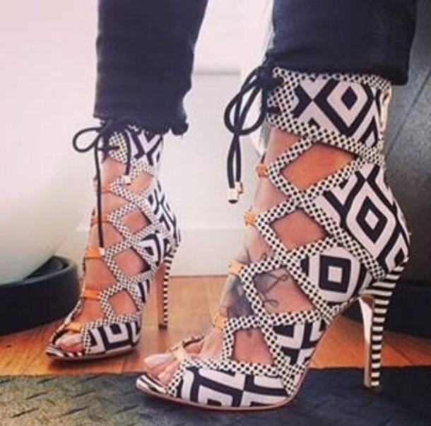 Shoes: lace up high heels black high heels aztec lace up heels