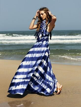 dress nautical tie dye summer stripes maxi dress elle sweden blue dress summer dress blue white long beach sandals brunette weheartit waves cute girly