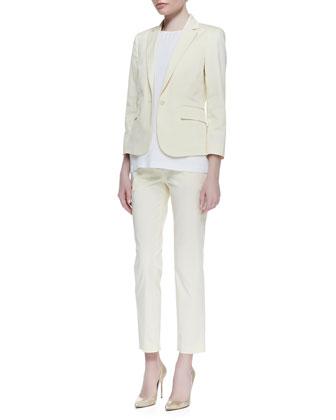 Theory Icon Fine Twill Button Blazer, Sleeveless Round-Neck Blouse & Cropped Slim Twill Pants