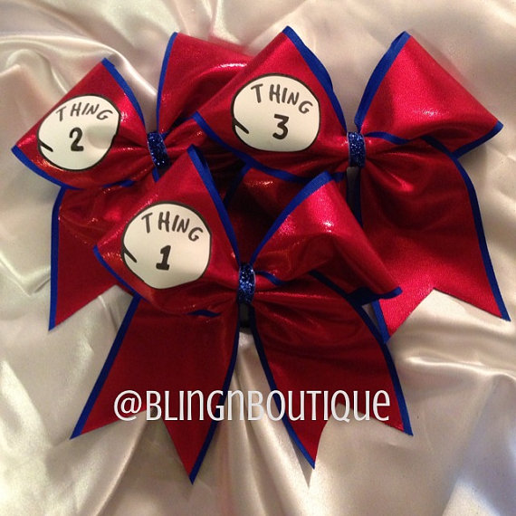 Thing 1 Thing 2 Cheer Bow  Bows Sold by BlingNBoutique on Etsy