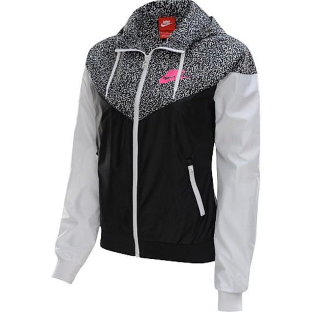 coat jacket nike windrunner nike windbreaker black/white/pink windbreaker nike jacket nike jacket windbreaker white black exactly like the picture grey pink women nike windrunner