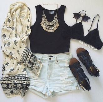 sweater boho elephant fasjion fashion clothes cardigan jeans tank top necklace top shorts white black shoes sunglasses sandles bra pretty grunge kimono pants