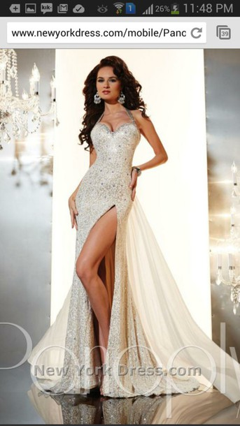 dress prom dress sequins ivory