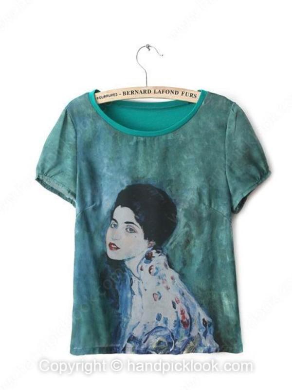 t-shirt emerald t-shirt woman print green t-shirt cartoon shorts printed crop top printed t-shirt summer top