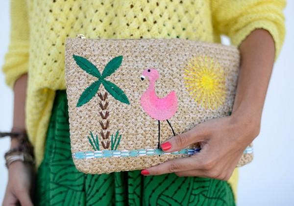 bag cute cluth flamingo palm tree raffia