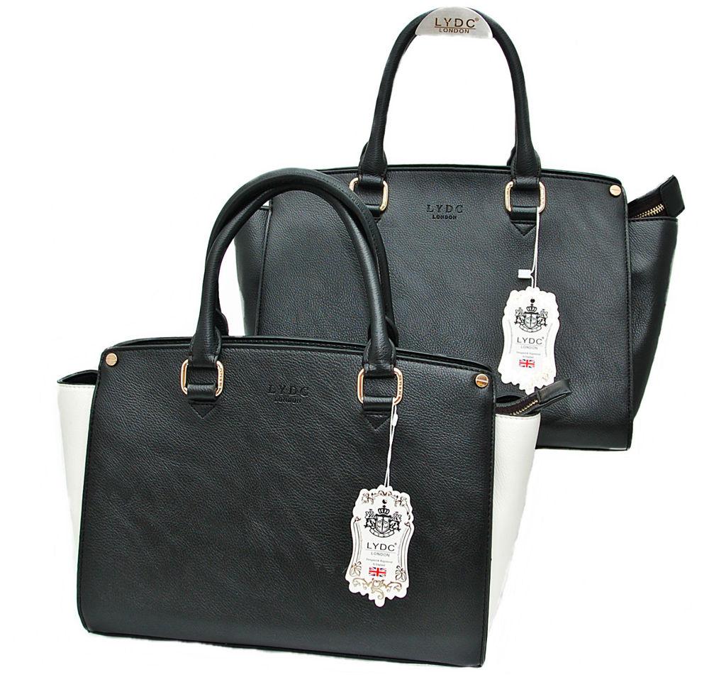 LYDC LONDON© HENKEL Damen Handtasche mit Schulterriemen in Schwarz oder Weiß   eBay