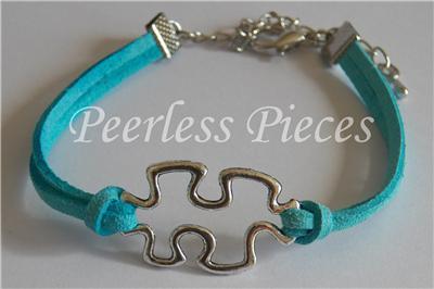 Puzzle Pieces Autism Awareness Blue Leather Suede Bracelet