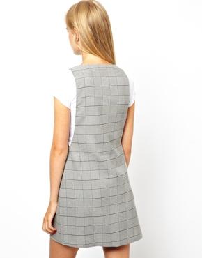 ASOS | ASOS Shift Dress In Check With Zip Front at ASOS