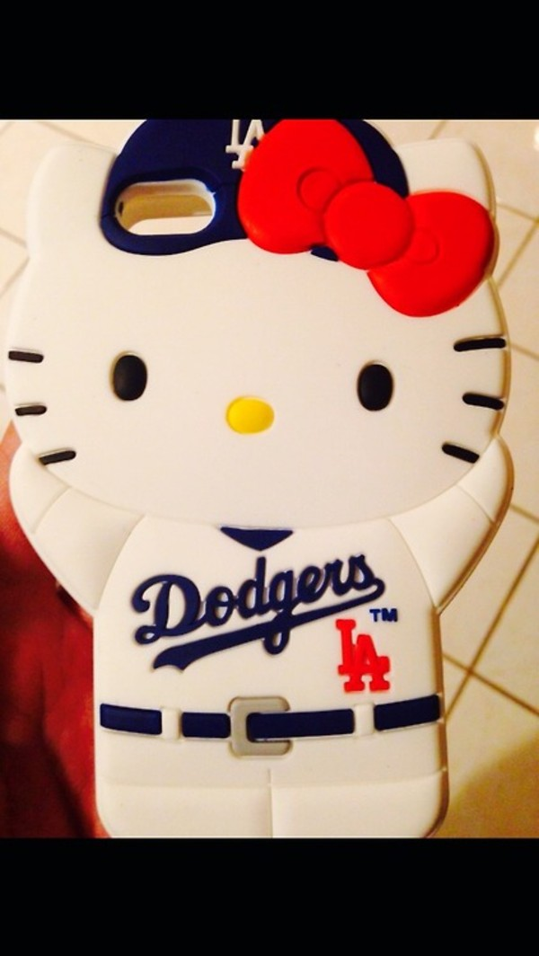 jewels la dodgers white blue red bow iphone 5c phone cover hello kitty i phone case