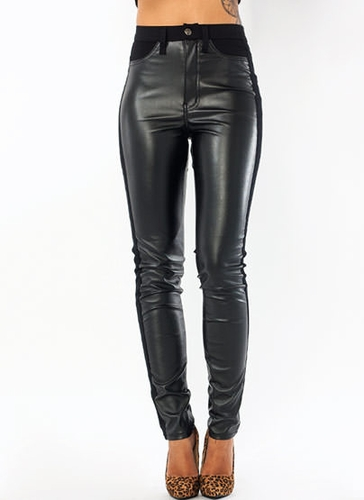 GJ | Luxe Tux Faux Leather Pants $41.60 in BLACK - High-Waisted | GoJane.com