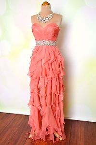 Coral Swirly Prom Pageant Evening Formal Long Short Gown Dress M 6 8 | eBay