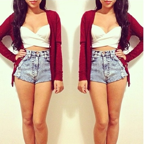 tank top white crop tops red cardigan sweater fashion red white shorts High waisted shorts