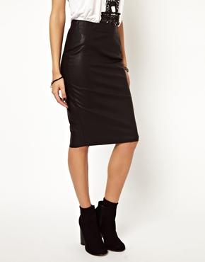 Vero Moda | Vero Moda Leather Look High Waist Pencil Skirt at ASOS