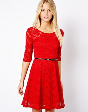New Look | New Look 3/4 Lace Skater Dress at ASOS
