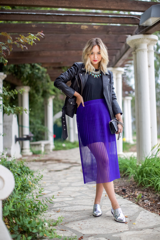 late afternoon blogger jacket skirt shirt shoes jewels bag royal blue royal blue skirt see through leather jacket metallic shoes pleated skirt blue skirt chiffon skirt silver shoes