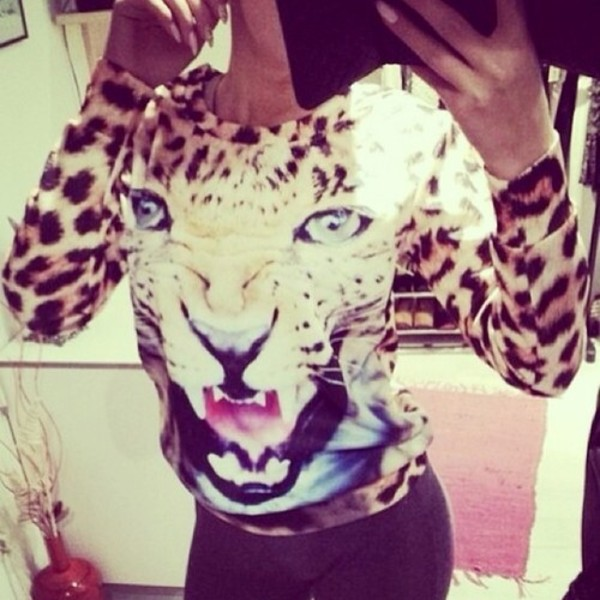 sweater gorgeous sexy tiger lion leopard print animal print sweatshirt animalprint animal face print