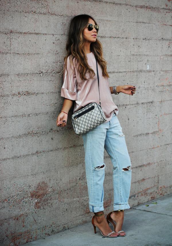 sincerely jules blouse jeans shoes bag