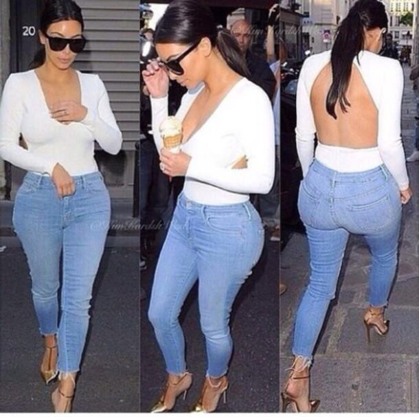 kim kardashian white top