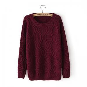 Long Sleeve Diamond Patterned Pullover Sweater on Luulla