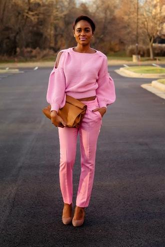 the daileigh t-shirt pants shoes bag cut-out shoulder sweater cut out shoulder pink sweater cropped sweater pink pants clutch brown clutch pink lipstick platform pumps pumps pink pumps high heel pumps