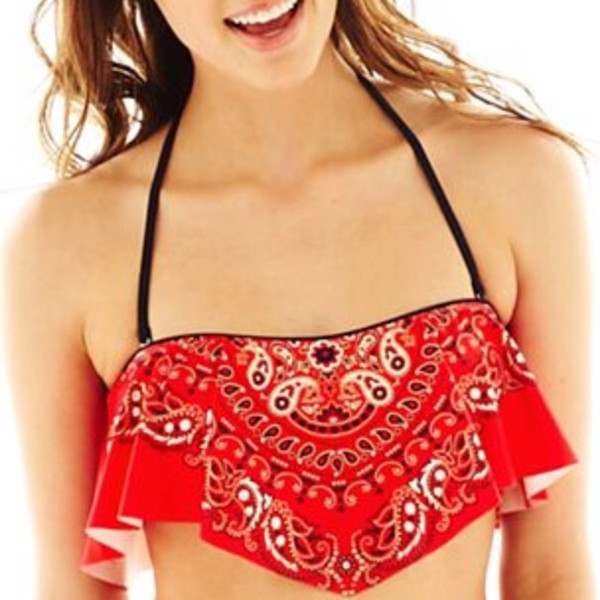 swimwear bandana print bandeau bikini red