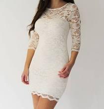 Cream/white Lace Bodycon Body Con Slash Neck 3/4 Sleeve Mini Dress Sizes 6-16