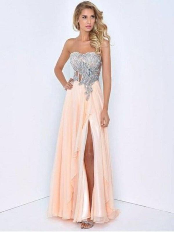 dress prom dress 2016 long prom dresses 2016 long prom dress sequin prom dress backless prom dress sexy prom dress evening dress long evening dress evening outfits pink dress long clothes dance long dress diamonds prom dress coral dress silver sequence strapless dress long prom dress prom dress junior prom peach dress silver dress peach sheer bodice