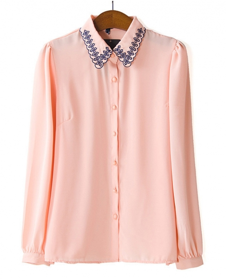 Embroidered Turn-down Collar Solid-tone Shirt | BlackFive