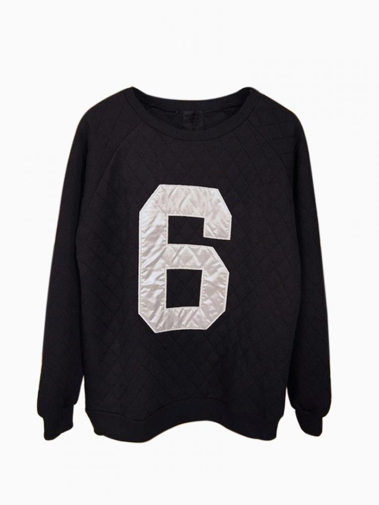 Black Embossed Sweatshirt with 6 Pattern   Choies