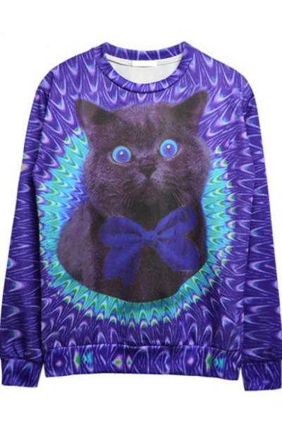 Dazzling Cat Graphic Sweatshirt - OASAP.com