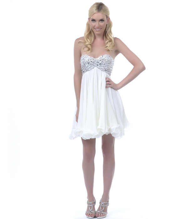 dress white sparkle short strapless glitter tulle skirt dance pretty cute funny prom prom dress