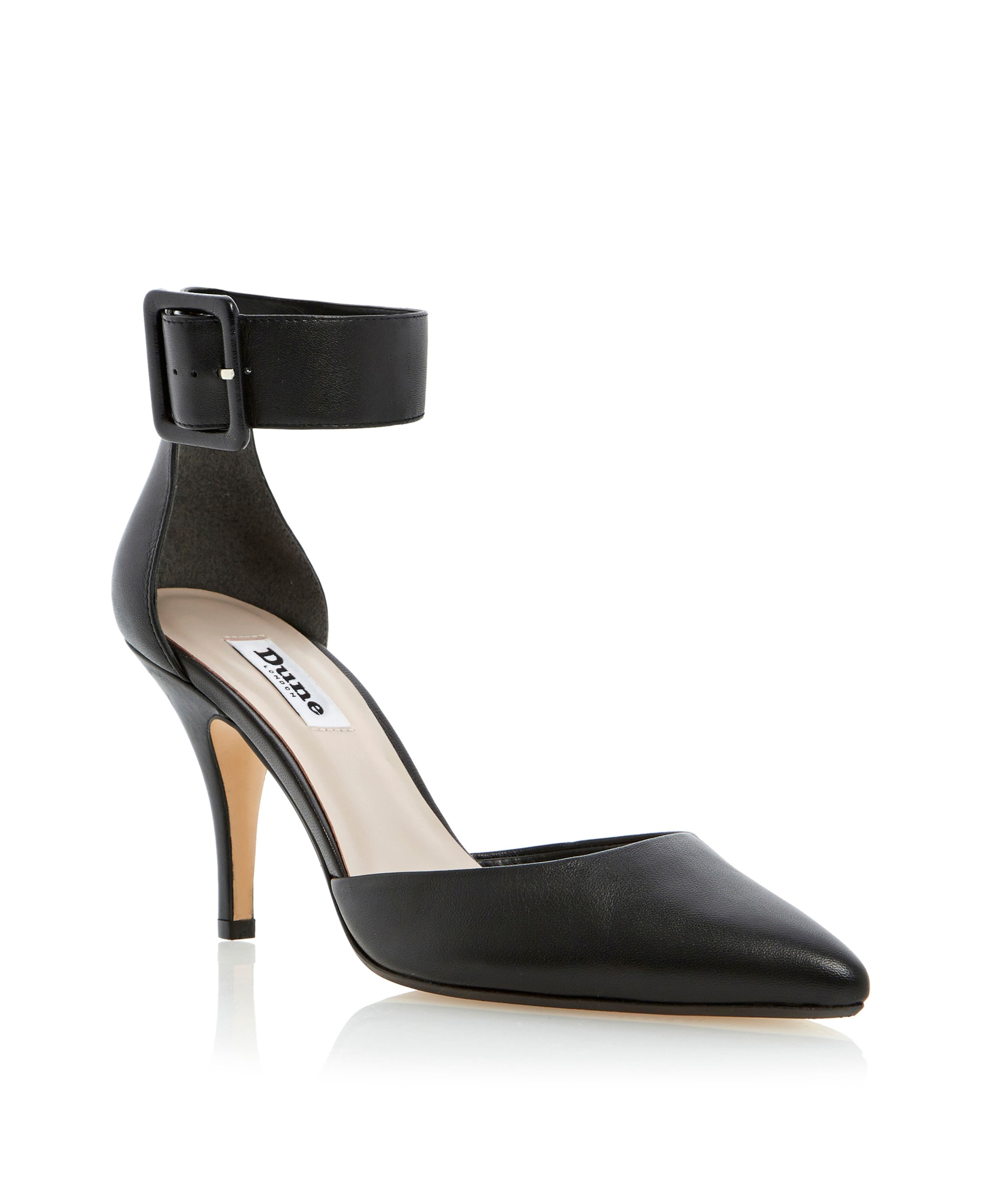 Dune Dolphin two part ankle strap court shoes Black Leather - House of Fraser
