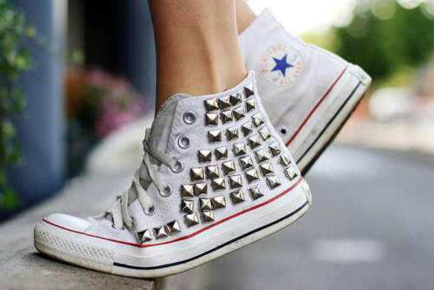 shoes white studded converse