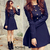ROMWE   Double-breasted Skirt Hem Design Blue Trench-coat, The Latest Street Fashion