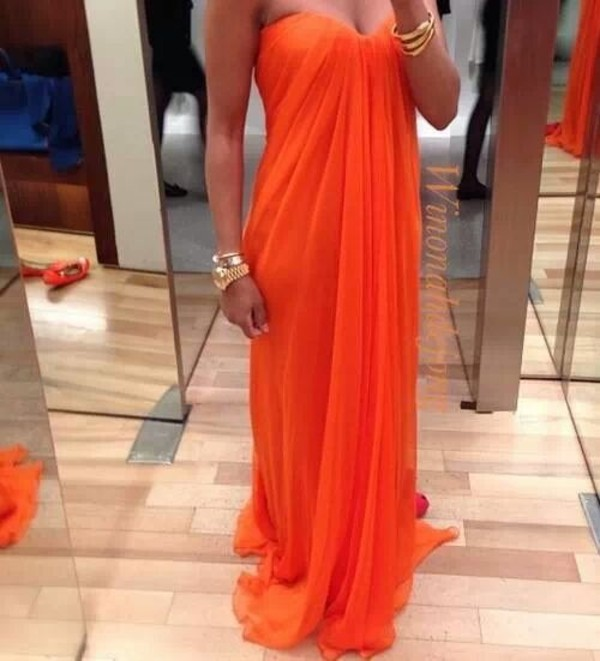dress orange dress prom dress chiffon evening dress long prom dress
