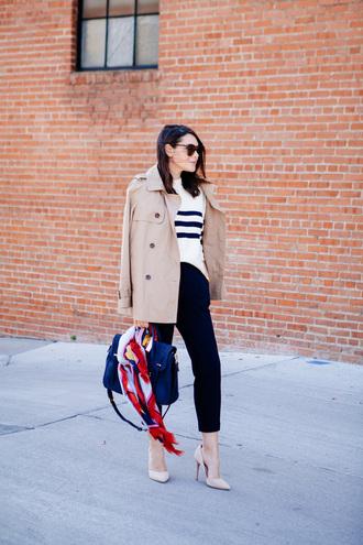 kendi everyday blogger striped sweater trench coat beige coat nude heels satchel bag blue bag printed scarf