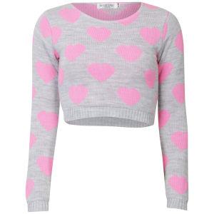 Women's Heart Crop Knit Jumper - Grey/Pink Womens Clothing   TheHut.com